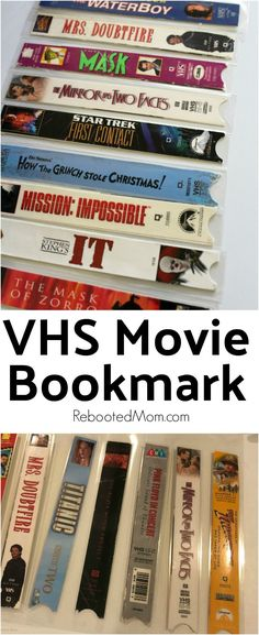Transform an old VHS movie case into these unique VHS Movie Cover Bookmarks - they're easy to make, simple to clean and great to give as gifts!  #VHS #movie #movielover #bookmark #DIY #upcycle