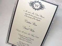 UMA4A Glitter Wedding Invitations by LavenderPaperie1 on Etsy, $525.00