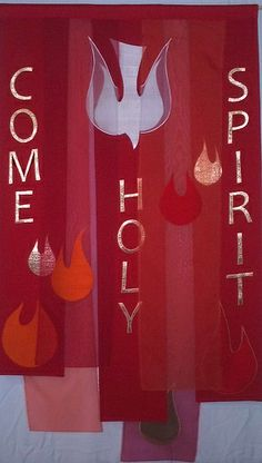 Pentecost Banner of silk matka, silk organza, and gold lame'. More