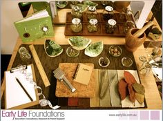 """Such an inviting area from Early Life Foundations ("""",) - like the measuring tape and notebook. Science Area, Preschool Science, Science Activities, Science Inquiry, Nature Activities, Preschool Crafts, Science Nature, Learning Spaces, Learning Environments"""