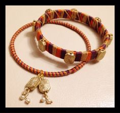 Tri colored woven thread and gold vintage beaded bangle on Etsy, $58.00