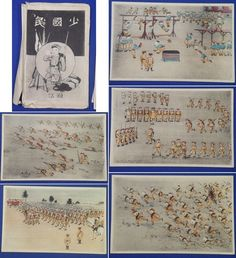 "1930's Japanese Postcards : Children Playing War ""Shou Kokumin"" ( = Japanese Children)  army antique cute art kids / vintage antique old Japanese military war art card / Japanese history historic paper material Japan"