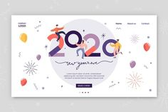 New year landing page flat design Vector Happy New Year Background, Celebration Background, Pastel Wedding Stationery, Chinese New Year Design, Happy New Year Greetings, New Years Poster, Licence Lea, Promotional Design, Beautiful Posters
