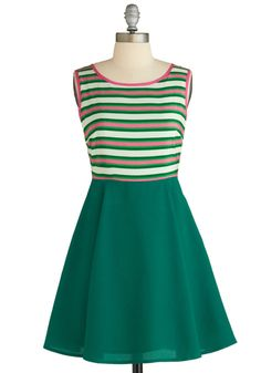 Rose Garden Color Story Dress - Mid-length, Green, Pink, White, Stripes, Casual, Fit & Flare, Sleeveless, Boat, Exclusives, Summer
