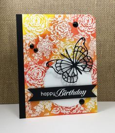 Cover-a-card roses: Impression Obsession, embossed, sponged, butterfly die: Memory Box, by beesmom at splitcoast