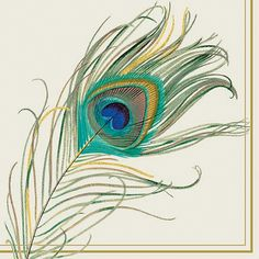 Great for tea or cocktail parties, the Boston International Peacock Feather Cocktail Napkins make the perfect party accessory. The printed napkins feature a realistic, colorful large peacock feather on a cream background. Peacock Drawing, Feather Drawing, Peacock Art, Feather Painting, Peacock Colors, Peacock Design, Peacock Blue, Purple, Peacock Feather Tattoo