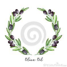 Венок оливковой ветки акварели Olive Branch Tattoo, Tree Branch Tattoo, Fruits Drawing, Wreath Drawing, Tree Illustration, Botanical Flowers, Olive Tree, China Painting, Floral Wedding Invitations
