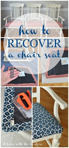 How to Recover Kitchen Chairs Tutorial for recovering a chair seat! Easy and practical way to quickly change a rooms decor! The post How to Recover Kitchen Chairs appeared first on Upholstery Ideas. Furniture Projects, Furniture Makeover, Home Projects, Diy Furniture, Regency Furniture, Inexpensive Furniture, Furniture Websites, Wicker Furniture, Plywood Furniture