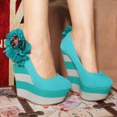 Beautiful Ocean Blue Platform Shoes High Heels platform shoes  2013 Fashion High Heels 