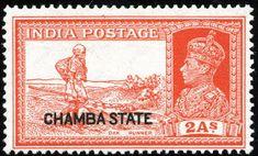 Stamps ©: Stamp of Chamba State, India [{Overprint on King George VI Postage Stamp; Maldives, Sri Lanka, Jaipur Inde, States Of India, Vintage Stamps, King George, Scarlet, Vintage World Maps, Commonwealth