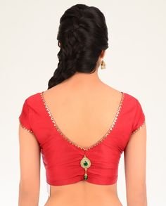 Red Blouse with Crystal Brooch - Exclusively In - long sleeve blouse, office blouses for ladies, white ladies blouse *ad Saree Blouse Neck Designs, Choli Designs, Saree Blouse Patterns, Diy Blouse, Dress Designs, Blouse Pattern Free, Saree Accessories, Blouse Models, Beautiful Blouses