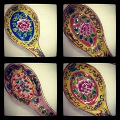 Peranakan  ceramic soup spoons. Soup would probably taste better with this :)