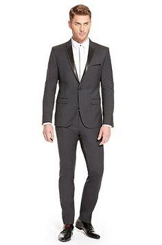 Adwards/Hens' | Slim Fit, Stretch Virgin Wool Tuxedo with Faux Leather Trim, Dark Grey