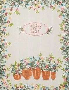 Thinking of You card by Scrappigators featuring Rubber Stamp Tapestry's Pottery Garden Peg Stamp Set. Cardio Cards, Penny Black Stamps, Card Io, Cool Cards, Cardmaking, Birthday Cards, Cool Things To Buy, Greeting Cards, Paper Crafts