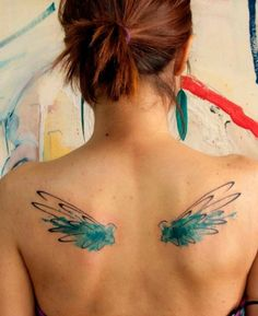 Watercolor wings tattoo thinking about adding to my big tattoo design, one side blue, the other red-good and evil