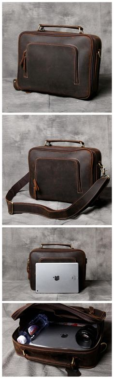 BROWN LEATHER MESSENGER BAG, LEATHER LAPTOP BAG, LEATHER BRIEFCASE, HANDMADE SHOULDER BAG OAK-041