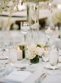 modern chic wedding centerpiece idea; photo: Sylvie Gil