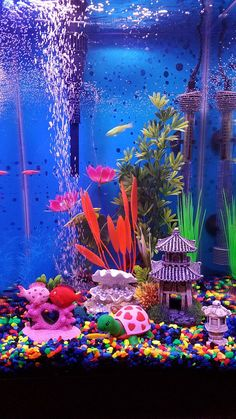 My new aquarium with glo fish – Pets' Loyalty Cool Fish Tank Decorations, Fish Aquarium Decorations, Small Fish Tanks, Cool Fish Tanks, Tropical Freshwater Fish, Tropical Fish Tanks, Fish Tank Drawing, Unicorn Fish, Fish Tank Themes