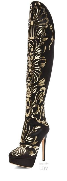 Charlotte Olympia Prosperity Silk Satin Boots in Onyx