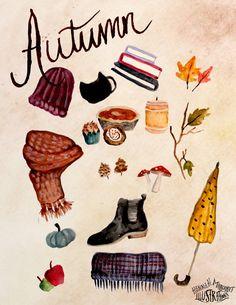 "hannahmargaretillustrations: ""Few of my favorite aspects of fall! Watercolor """