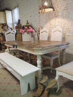 shabby chic dinner table with bench