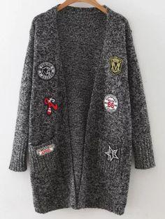 lange Strickjacke-Mantel mit Taschem Steinig Flicken-schwarz