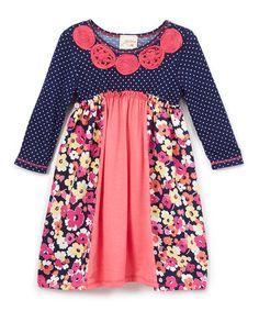 Love this Navy & Fuchsia Floral Polka Dot A-Line Dress - Toddler & Girls…
