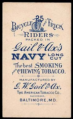 Advertising For Gail & Ax's Navy Long Cut Tobacco