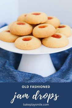 Our OLD FASHIONED JAM DROPS are the most delicious melt-in-your mouth thumbprint cookies filled with sweet jam! Made from just 6 ingredients with less than 10 minutes preparation time! Healthy Cookie Recipes, Healthy Cookies, Yummy Cookies, My Recipes, Baking Recipes, Crazy Cookies, Jam Cookies, Kitchen Recipes, Easy Desserts