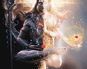 Ardhanarishvara Shiva and Shakti united. Uniting and Integrating the opposite polarities is the aim of all spiritual paths = Harmony. Shiva is on the right side. This is the Pinga… Shiva Shakti, Arte Shiva, Shiva Art, Lord Shiva, Lord Vishnu, Hindu Kunst, Hindu Art, Spiritual Healer, Spiritual Enlightenment