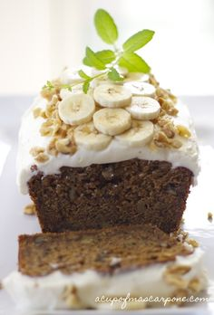 Banana Pumpkin Bread dressed up with Cream Cheese Frosting, banana slices & chopped walnuts! {alternative topping on blog}   a cup of mascarpone