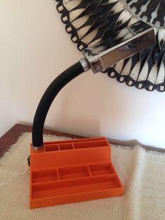 Retro Mid Century Orange desk lamp  / desk tidy/organiser/pen & pencil storage. /Gooseneck/Office lamp/ by trevoranna on Etsy