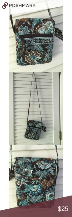 Crossbody Java Vintage Vera Bradley Purse Brand: Vera Bradley Material: Canvas/Cotton Colors: Blue/Brown Print: Java Type: Crossbody/Messenger Additions: 2 zip pockets, 6 additional open pockets, Velcro to close, adjustable straps Worn: Multiple - great condition  Also for sale: N/A Vera Bradley Bags Crossbody Bags
