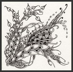 Micron pen & graphite on a Zentangle tile by Norma J Burnell