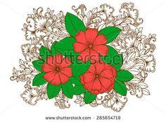 Doodle bouquet of wild flowers.