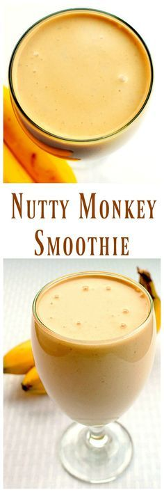 Nutty Monkey Smoothie - Greek Yogurt,bananas and peanut butter along with a little milk and you've got a protein smoothie that your whole family will love! via @https://www.pinterest.com/BunnysWarmOven/bunnys-warm-oven/