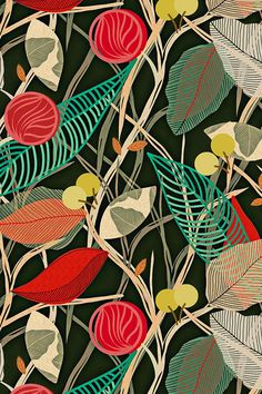 Foliage by susan_polston - Hand illustrated plant forms in black, red, turquoise, yellow, and green on fabric, wallpaper, and gift wrap. Beautiful botanical illustration by indie designer Susan Polston.