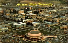 Old postcard with aerial view of Arizona State University. Grady Gammage Memorial Auditorium front and center. Gammage Auditorium was designed by renowned architect Frank Lloyd Wright and based upon a previously developed design for an opera house in Baghdad, Iraq that never came to fruition.