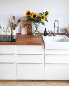 white kitchen wooden counter