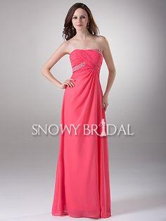 Empire Peach Floor Length Chiffon Strapless A-Line Bridesmaid Dress - US$ 100.99 - Style B1213 - Snowy Bridal