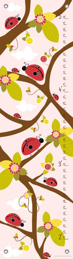 Ladybug Branches - Pink Growth Charts