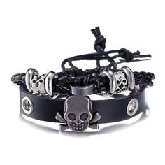 Faux Leather Woven Skull Infinity Bracelet (150 RUB) ❤ liked on Polyvore featuring men's fashion, men's jewelry, men's bracelets, mens woven bracelets, mens skull bracelets and mens leather braided bracelets