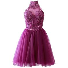 MACloth Women's High Neck Short Lace Homecoming Prom Dress Formal... ($119) ❤ liked on Polyvore featuring dresses, gowns, purple lace dresses, short lace dress, short dresses, short homecoming dresses and short evening dresses