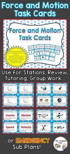 Force and Motion Task Card Set. This set contains 52 different cards. Great for review, rotations, partner work, or independent study.