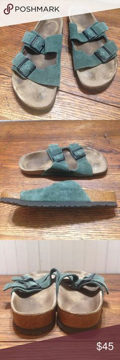 Birkenstock green suede ladies size 9 men's size 7 Birkenstock green suede ladies size 9 men's size 7, green wide double straps, these are in good condition Birkenstock Shoes