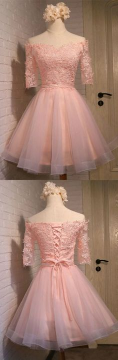 Pink A-line Off-the-shoulder Short Tulle Homecoming Dress With Appliques Lace