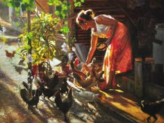 Feeding Time, by Orley Ypon Figure Painting, Painting & Drawing, Filipino Art, Philippine Art, Fine Arts College, Painting Competition, Old Master, Artist Names, All Art