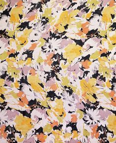Tootal, Broadhurst, Lee & Co. Dress fabric of georgette screen-printed with a repeat of flowers, stems and leaves in yellow, white and mauve on a black background. Vintage Flowers Wallpaper, Flower Wallpaper, Textile Patterns, Print Patterns, Textiles, Vintage Typography, Vintage Logos, Retro Logos, Summer Prints