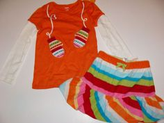 Gymboree Mod About Orange Girl Sets-Top,Sweater.Leggings,Scarf,Hair 4 5 6 NWT