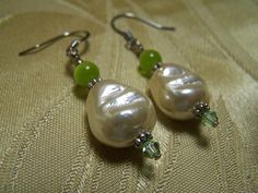 Dangle Earrings Glass Pearl and Lime Green by WILDSTRAWBERRIESco, $16.00